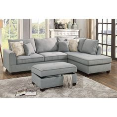 Laurel Foundry Modern Farmhouse Malta Reversible Sectional with Ottoman Upholstery: Light grey Couch With Ottoman, Couch With Chaise, Chaise Sofa, Sofa Bed, Living Room Sectional, Living Room Furniture, Furniture Board, Furniture Websites, Furniture Storage