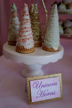 Very fun horns at a unicorn birthday party! See more party ideas at CatchMyParty.com!