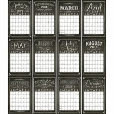 2014 Paper Source Chalkboard Wall Grid Calendar $