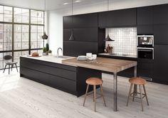 Solid Surface and Laminate Kitchen Kitchen Decor, Kitchen Inspirations, Kitchen Dinning, Apartment Kitchen, Kitchen, Modern Kitchen, Black Kitchens, Kitchen Renovation, Laminate Kitchen