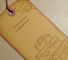 Custom destination escort tags, luggage, hand typed, vintage, set 10. $17.00, via Etsy.