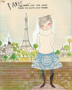 ORIGINAL watercolor painting of girl in Paris  5 x 7 by corid