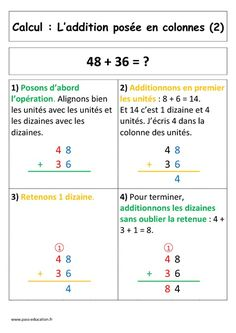 L'addition posée en colonne avec retenue (CP) Maths, Names, Calculus, Days Of Week, Note Cards, Learning, Beginning Sounds, Homework