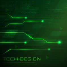 Green technological background design Free Vector