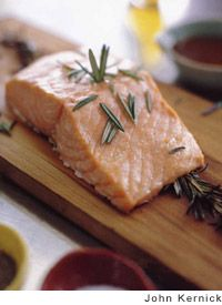 Plank-Roasted Salmon with Rosemary-Mustard Vinaigrette by Clark ...