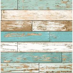 Brewster 56 sq. ft. Turquoise Scrap Wood Weathered Texture Wallpaper-2701-22318 - The Home Depot