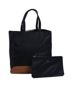 Borsa shopping NEIL BARRETT in pelle colore nero e fondo in legno, MADE IN ITALY, interno scamosciato con portafogli a zip removibile, manici, piedini appoggio.