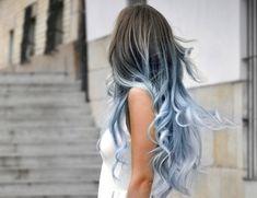 Winter Blue Grey Dip Dye Hair