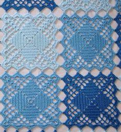 blue squares crochet quilt pattern 1