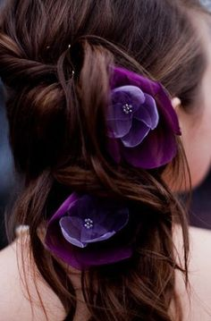 romantic amethyst lilac purple rose blossom flower hair pins