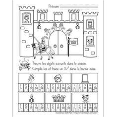 Fichier PDF téléchargeable En noir et blanc seulement Niveau préscolaire 1 page  L'élève doit trouver et compter les objets dans le dessin. Il trace un X dans la bonne case. Chateau Moyen Age, Castle Crafts, Fairy Tales Unit, Princess Crafts, Medieval Crafts, Fairy Tale Theme, Château Fort, French History, Author Studies