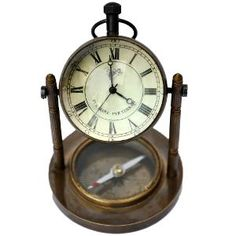 Antique Clock n Compass Pure Brass Handicraft 105 - DLI3HCF105 ...