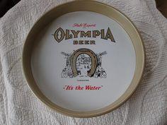 VINTAGE ORIGINAL METAL OLYMPIA BEER SERVING PUB ADVERTISING TRAY