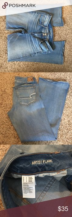 American Eagle Outfitters Artist Flare Light wash Super Stretch, worn once they are to long on me.  The length is regular typically I buy short but they didn't have this wash in my size so I tried regular and they are far too long. American Eagle Outfitters Jeans Flare & Wide Leg