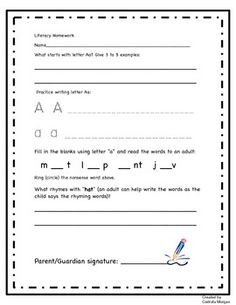 I created this homework for each letter of the alphabet and send one page home as I teach the specific letter in my Kindergarten classroom. This homework is great for differentiating as it allows more advanced students to start writing their answers from day 1 (using phonetic spelling of difficult words) and students who struggle to also experience success with proper scaffolding and an adult's guidance. Product for sale.