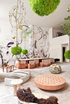 Pablo Piatti 'Tropical Birds' wallpaper mural (Tres Tintas Barcelona), Max Lamb (Johnson Trading Gallery) chair and stool, Patricia Urquiola...