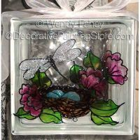 Lighted glass block painted by me pattern by for Glass blocks for crafts lowes
