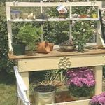 Various Garden Bench Plans- make a potting area for the side of the shed