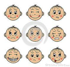 Placez les visages des enfants avec différentes émotions