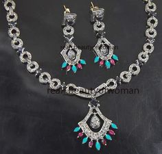 Estate Vintage 7.35cts Rose Cut Diamond Turquoise / Ruby 925 Silver Necklace Set…