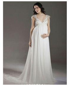 Elegantes Hermoso vestido de novia de embarazada satinado con escote V y cola real y encajes de organdí alrededor de la parte superior