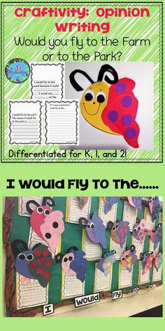 Make opinion writing fun this spring by incorporating this cute butterfly craft into your lesson plan!   If you were a butterfly, would you fly to a farm or to a park? Included are three different opinion writing forms: Kindergarten  First Grade Second Gr