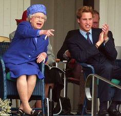 The queen gets a little rowdy! Queen Elizabeth II and grandson Prince William of Wales