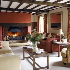 Good Selection in Welcoming Dwelling Room Inside Design Concepts - Decoration For Home Living Room Ceiling, Modern Interior Design, Interior Design, Autumn Interior, Cozy Living Rooms, Living Room With Fireplace, Living Room Remodel, Inside Design, Living Room Designs
