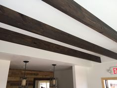 Faux beams in physician office. By Cowboy Jeff Custom Wood Furniture, Reclaimed Wood Furniture, Faux Beams, Beach House, Dining Room, Ceiling Lights, Lighting, Building, Beautiful