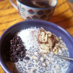 [Leaf Parade. Overnight oats with coconut, almond, and cacao.]
