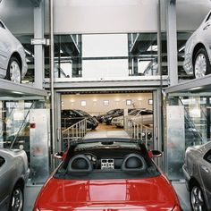 Car Display Tower by Wöhr #architonic #nowonarchitonic #interior #design #furniture #car #parking #tower Car Parking, Parking Lot, Transparent Design, Surface Area, Steel Structure, Small Cars, Furniture Design, Tower, Display