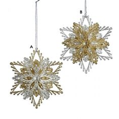 Silver and Gold Glittering Burst Snowflake Ornaments