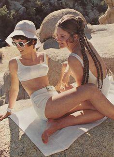 'High-gloss white against seal-sleek golden skin.' 'High-gloss white against seal-sleek golden skin. 60s And 70s Fashion, Retro Fashion, Trendy Fashion, Vintage Fashion, Fashion Fashion, Beach Fashion, Fashion Black, Gothic Fashion, Fashion Ideas