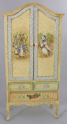 Peter Rabbit nursery armoire for the doll house! Decoupage Furniture, Hand Painted Furniture, Miniature Furniture, Paint Furniture, Repurposed Furniture, Dollhouse Furniture, Furniture Makeover, Furniture Ideas, Nursery Armoire