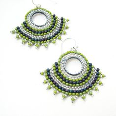 Beaded Hoop Earrings Green Seed Beads with Sterling by windyriver, $25.00