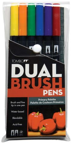 Tombow Dual Brush Pens 6/Pkg-Primary