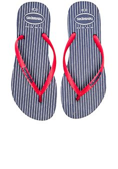 a896436c9ec1 Shop for Havaianas Slim Retro Flip Flop in Navy   Red at REVOLVE.