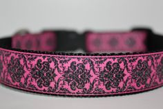 Glitter Demask Hot Pink Dog Collar/ 1 inch by TheCollarAuthority, $13.00