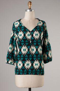 Teal Aztec Print High Low Hem Tunic: Katybrooke Boutique