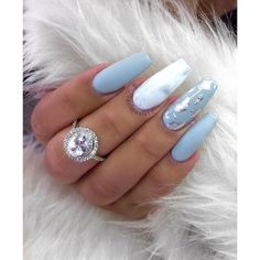 Blue Gel And Marble Nails Marblenails Coffinnails Acrylic Nails