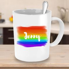 Custom Name Mug with Rainbow Watercolour Background - Personalised Coffee Mug Unique Gift Ideas