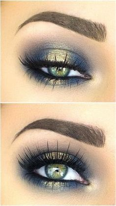 Blues of the Sea eye makeup look, list of makeup products, makeup hacks, blue and gold eyeshadow, smokey eye makeup, eye makeup ideas. #eyemakeup