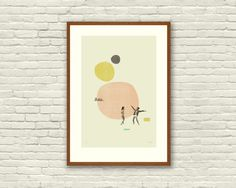 MOONRISE KINGDOM Wes Anderson Inspired Poster, Art Print - 12 x 18 Abstract Minimalist Shapes, Collage, Cut Paper, Mustard, Salmon, Fine Art