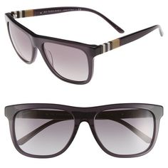 c1a8f5ce338c Burberry 58mm Check Detail Sunglasses (730 SAR) ❤ liked on Polyvore  featuring accessories, eyewear, sunglasses, grey, retro style sunglasses,  ...