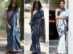 Bizarre trend in sarees. The denim #saree has really become popular in youngsters these days. Would you love to flaunt it?  Rakhi & Tarak #denimsaree