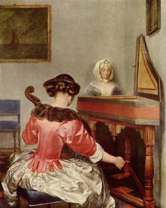 The Concert (1660-1665). Gerard ter Borch (Dutch, 1617–1681). Oil on panel. Berlin, Gemäldegalerie. Ter Borch was something of a child prodigy with surviving drawings dated from when he was eight years old. He entered the Haarlem painters guild when he was 18. Well-traveled and popular with the Dutch middle-class, he is best known for his modest-sized genre paintings, everything from Lady Peeling an Apple to Boy Removing Fleas from his Dog.