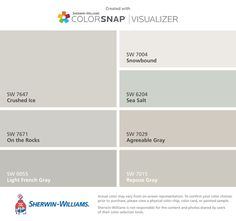 I found these colors with ColorSnap® Visualizer for iPhone by Sherwin-Williams: Silver Strand (SW Magnetic Gray (SW Agreeable Gray (SW Misty (SW Samovar Silver (SW Alabaster (SW Dorian Gray (SW Kiosk Design, Booth Design, Interior Paint Colors, Paint Colors For Home, Light Grey Paint Colors, Gray Color, Neutral Paint, Paint Colours, Wall Colors