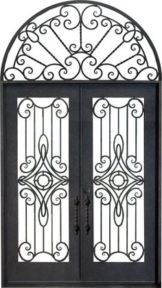 Double Wrought Iron Door with Swirl Centre  Arched Top Feature