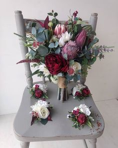 Faux floral native bouquet in burgundy and white Winter Bridal Bouquets, Red Bouquet Wedding, Red Rose Bouquet, Wedding Corsages, Vintage Wedding Flowers, Blush Wedding Flowers, Winter Wedding Flowers, Flower Centerpieces, Floral Bouquets