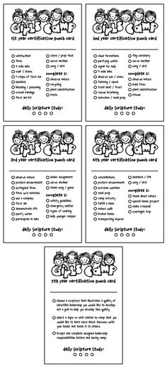 Free printable LDS Girl's Camp certification punch card. Stupid graphics, but might be a nice quick way for the girls to keep track of what's done and what's not.